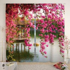 Фотошторы «Цветы в китайском парке», размер 145 ? 260 см, габардин