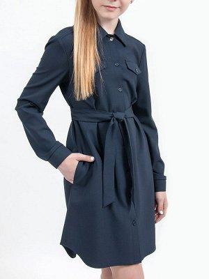 Ш 20 Платье-рубашка для девочки Т.синий