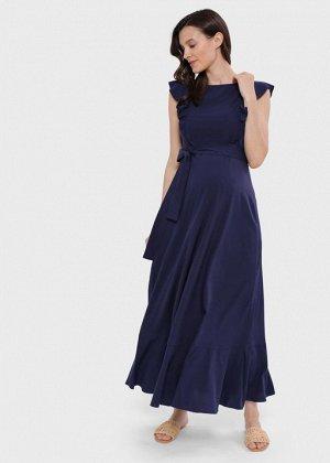 """Длинное летнее платье с воланом для беременных и кормления """"Амина""""; синий"""