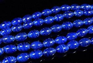 Бусины из муранского стекла 12*18 мм, цвет синий яркий. Цена за 1 шт.