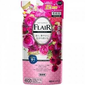 """355980 KAO """"Flare"""" Кондиционер-опласкиватель для белья со сладким цветочно-фруктовым ароматом (м/у) 480 мл 1/15"""