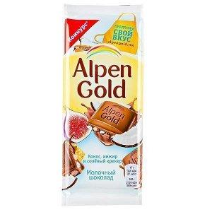 Шоколад Альпен Гольд Кокос Инжир Соленый крекер 85 г
