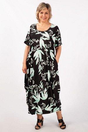 Платье мятный/черный, Джинс/зеленый,  джинс/желтый,   Лёгкое платье в стиле «бохо», тренд текущего сезона. Рукав цельнокроенный, горловина округлая, по бокам карманы. Сейчас бохо – это образ жизни, пл