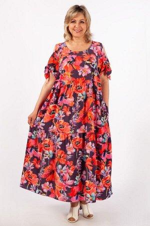Платье Анфиса цветы красные