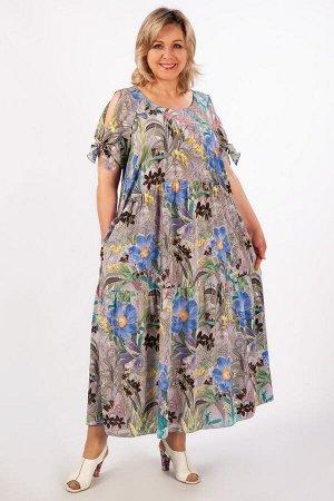 Платье Анфиса серо-голубой