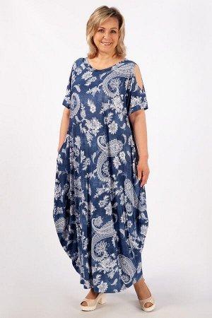 Платье Алиса джинс/узоры белые