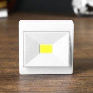 "Ночник LED пластик на магните от батареек ""Выключатель однокнопочный"" 2.5х8х10 см"
