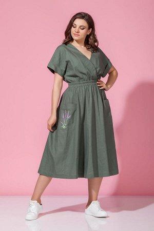 Платье Платье Anna Majewska М-1342  Состав ткани: Вискоза-21%; Лён-79%;  Рост: 170 см.  Платье женское приталенного силуэта, отрезное по линии талии, расширенное к низу. Накладные карманы украшены вы