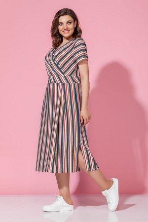 Платье Платье Anna Majewska М-1244 цветная полоска  Состав ткани: Вискоза-100%;  Рост: 170 см.  Платье с запахом, в полоску. Стильная летняя модель из вискозной ткани. Длинное платье для лета. Платье