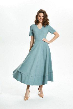 Платье Платье TEZA 1476 мох  Состав: ПЭ-40%; Лён-60%; Сезон: Лето Рост: 164  Платье из льняной ткани. Полуприлегающий силуэт, длина миди, v-образный вырез горловины, втачной пояс, рельефы по груди. Р