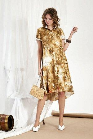 Платье Платье Divina 1.293  Состав ткани: ПЭ-80%; Лён-20%;  Рост: 164 см.  Платье в топовом фасоне из смесовой ткани со льном в составе с красивым растительным принтом.