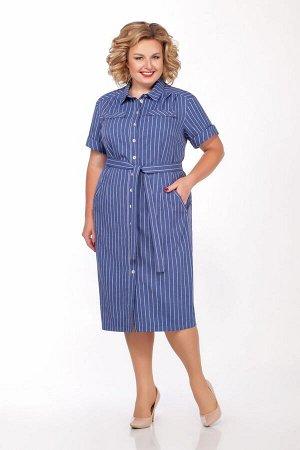 Платье Платье LaKona 997-1 синий под джинс  Состав ткани: ПЭ-70%; Лён-30%;  Рост: 164 см.  Платье в стиле сафари выполнено из ткани в полоску. Платье с функциональными карманами и съемным поясом. Дли