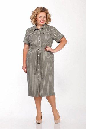 Платье Платье LaKona 997-1 хаки  Состав ткани: ПЭ-70%; Лён-30%;  Рост: 164 см.  Платье в стиле сафари выполнено из ткани в полоску. Платье с функциональными карманами и съемным поясом. Длина платья 1