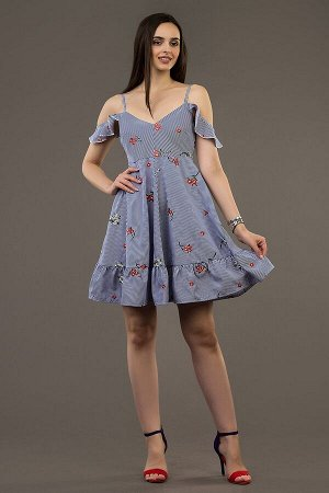 Сарафан Ткань: плательная в полоску с вышивкой. Сарафан на тонких лямках, под грудью – подрез, от подреза –расклешенная юбка с воланом. Длина ок.  Состав:хлопок 100%