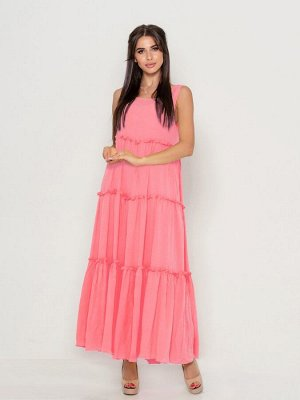 Розовый расклешенный сарафан с рюшами