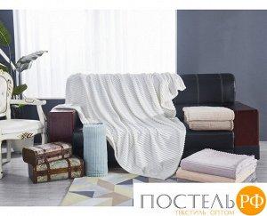 """784/150.001 Жаккардовый плед """"KARTEKS"""" 150х200см Полоска-01 молочный"""