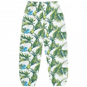 Пижама для девочки, белый, набивка попугаи