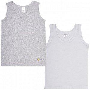 Комплект (майки 2 шт) для мальчика, белый, серый меланж