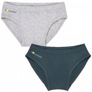 Комплект (трусы 2 шт) для мальчика, серый меланж, т.серый