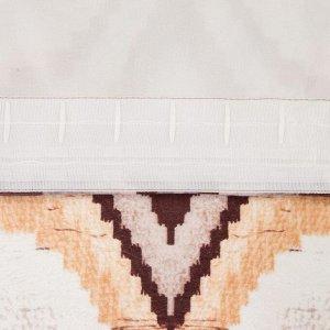 Штора портьерная Этель «Памир» 230х260 см. цвет коричневый. 100% полиэстер. блэкаут