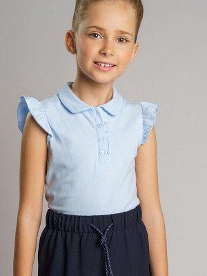 Фуфайка трикотажная для девочек (футболка) голубой