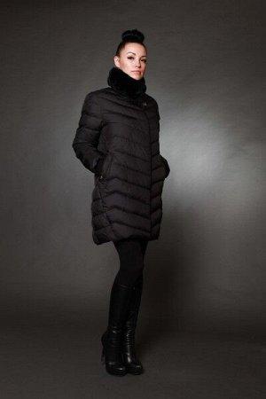 Куртка женская зимняя 7555 черный натуральный мех