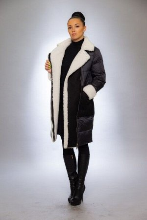 Женская куртка зимняя 9124М черный-белый