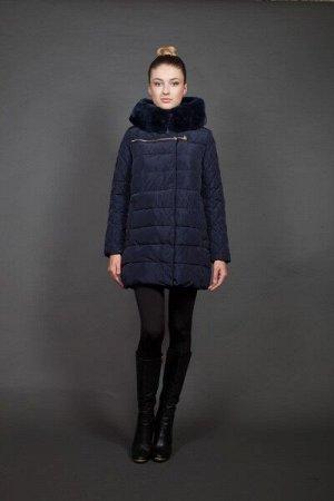 Куртка женская зимняя 16727 темно-синий натуральный мех