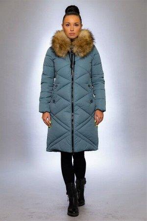Женская куртка зимняя 1915 ментол искусственный мех