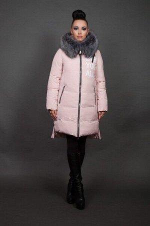 Куртка женская зимняя 16092 пудра натуральный мех