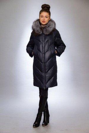 Женская куртка зимняя 1912 синий натуральный мех