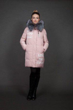 Куртка женская зимняя 16085 пудра натуральный мех