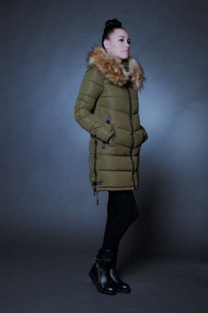 Куртка женская зимняя 1729 хаки искусственный мех