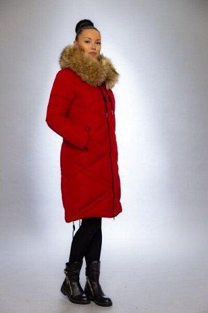 Женская куртка зимняя 1915 красный искусственный мех