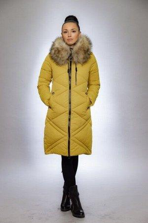 Женская куртка зимняя 1915 горчица искусственный мех