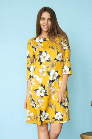 Платье 097/6 горчица/цветы