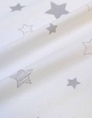 """Поплин """"Серые звезды на белом"""", ш.2.2 м, хлопок-100%, 115 гр/м.кв"""