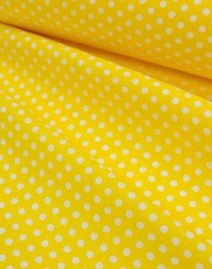 Бязь Горох на желтом, 2сорт, 1.5 м. хлопок-100%, 120 гр/м.кв