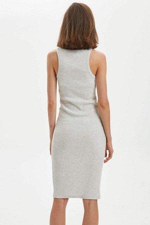 Платье-майка серый меланж