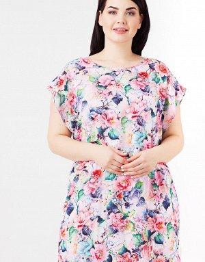 Платье Лёгкое платье с нежными цветами и белым поясом  Состав: 95% вискоза, 5% эластан