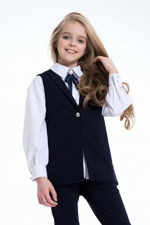 Синий школьный жилет для девочки, модель 1107