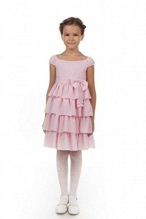 Нарядное розовое платье для девочки, модель 0114