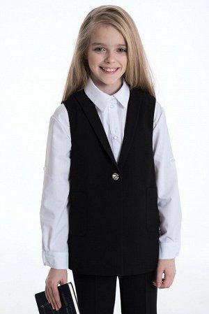 Черный школьный жилет для девочки, модель 1107