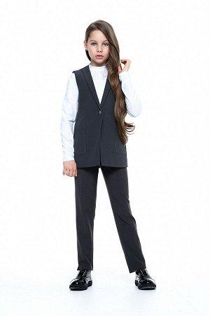 Серый школьный жилет для девочки, модель 1107
