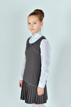 Серый школьный сарафан, модель 0214