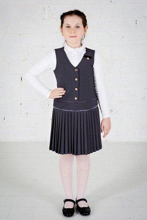 Серый школьный сарафан, модель 0205