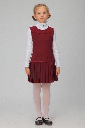 Бордовый школьный сарафан, модель 0203