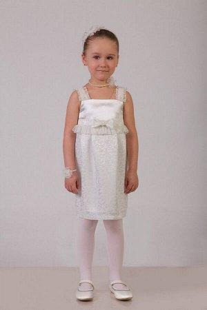 Нарядное молочное платье для девочки, модель 0107