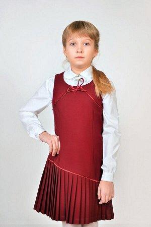 Бордовый школьный сарафан, модель 0214