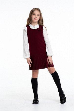 Бордовый школьный сарафан, модель 0213/6